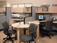 wood trim fabric panel cubicles