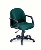 green fabric swivel chair