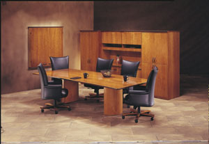 wood cylinder base conference table
