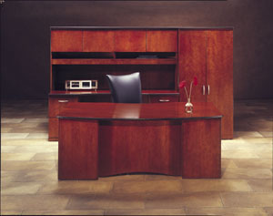 bow shaped wood office suite