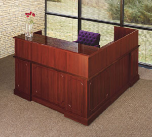 Traditional Reception Desk in Mahogany Finish