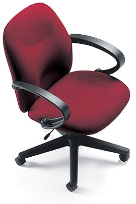 red swivel chair with curved arms