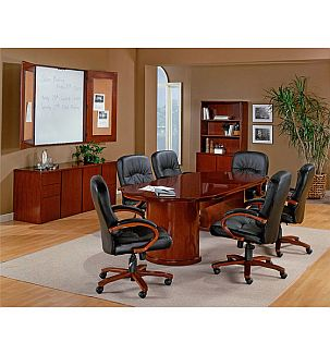oval racetrack conference table with chairs