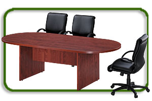 racetrack conference table and conference room chairs