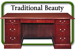 traditional wood desk and credenza with hutch