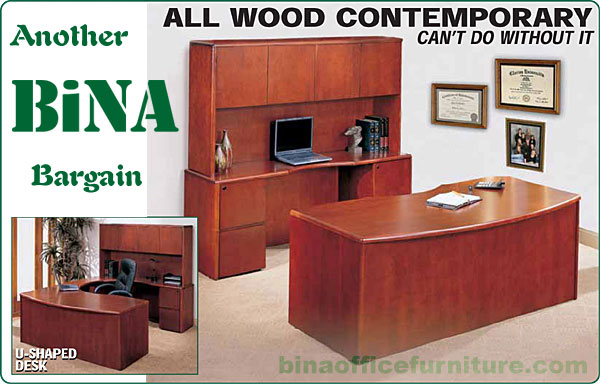 All Wood Contemporary Desk Sets